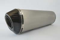 SP Engineering Slip On Oval Carbon Outlet Diabolus XL Brushed Stainless Exhaust