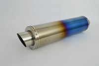 Coloured Titanium Moto GP Round XL Exhaust - 2'' Slip on - Clearance