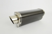 Carbon Fibre Moto GP Tri-Oval Stubby Exhaust - 2'' Slip on - Clearance