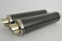 Pair of Carbon Fibre Moto GP Round XL Exhausts - 2'' Slip on - Clearance