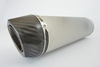 Aprilia Tuono V41100 RR (15-16) Round Carbon Outlet Diabolus XLS Brushed Stainless Exhaust